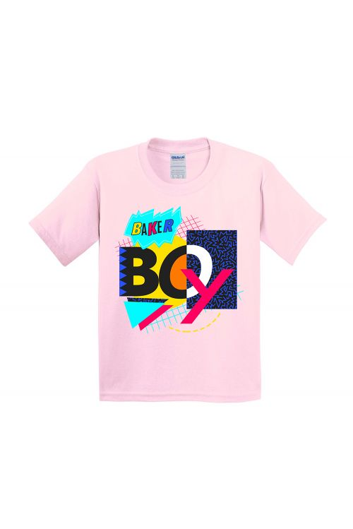 Light Pink 90's Mash Up Kids Tshirt by Baker Boy