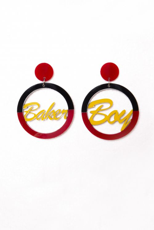 Earrings - Black And Red Hoop with Yellow Writing by Baker Boy