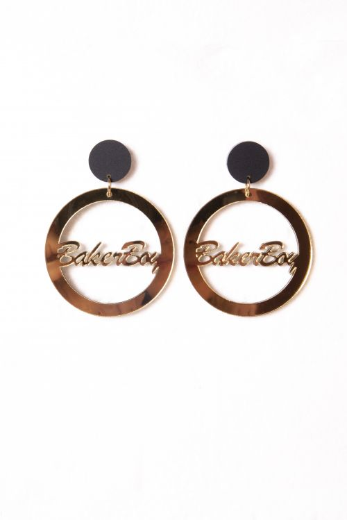 Earrings - Gold mirror hoop with BLACK stud by Baker Boy