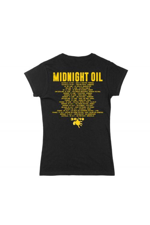 Armistice Tour 2019 Black Ladies Tshirt by Midnight Oil