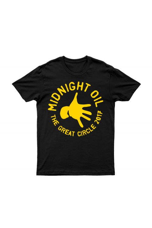 Hand Black Tshirt The Great Circle 2017 Tour by Midnight Oil