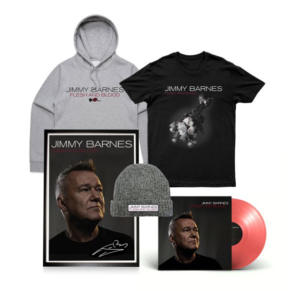 Flesh And Blood (Blood Red Vinyl) + Framed Signed Lithograph + Tshirt + Hoody + Beanie